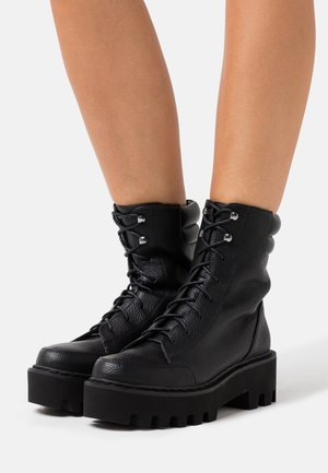 HIGH PROFILE LACE UP BOOTS - Platform ankle boots - black