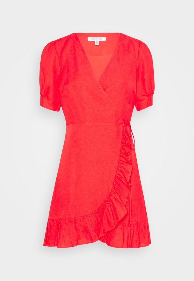 BOSTON WRAP SKATER DRESS - Korte jurk - red
