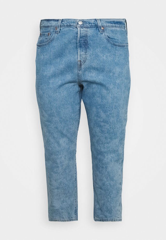 501 CROP - Szorty jeansowe - light-blue denim