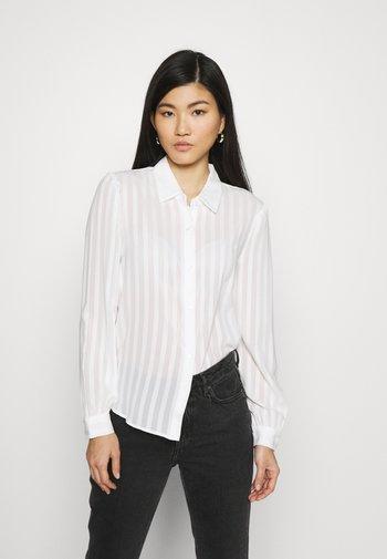 Semi sheer blouse - Button-down blouse - white