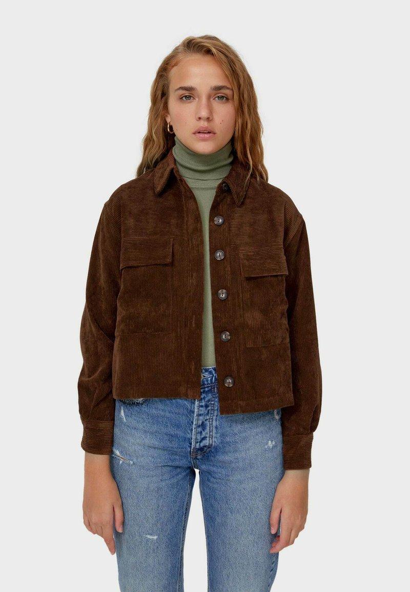 Stradivarius - Summer jacket - dark brown