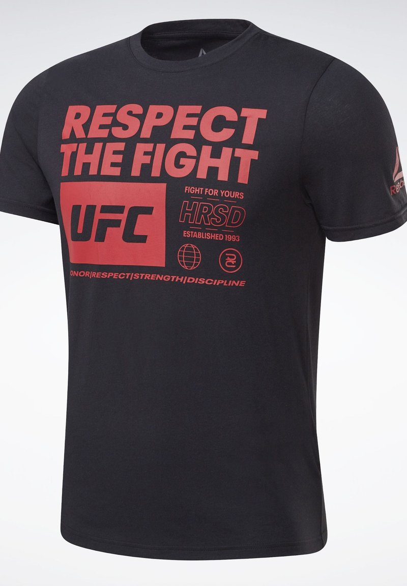 Reebok UFC FAN GEAR TEXT T-SHIRT - T-Shirt print - black/schwarz ZOt1Im
