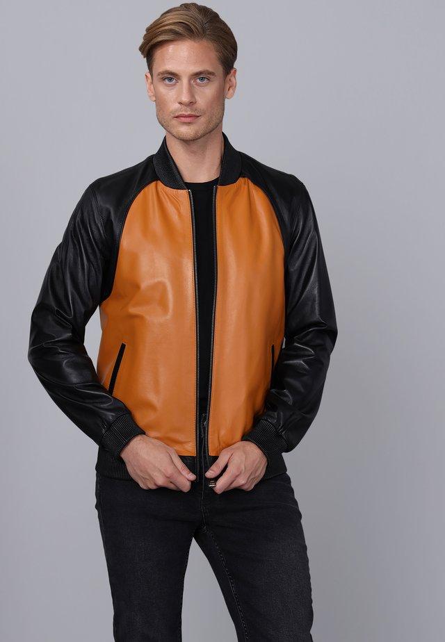Leren jas - black/camel