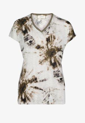 MIT V-AUSSCHNITT - T-Shirt print - white/khaki