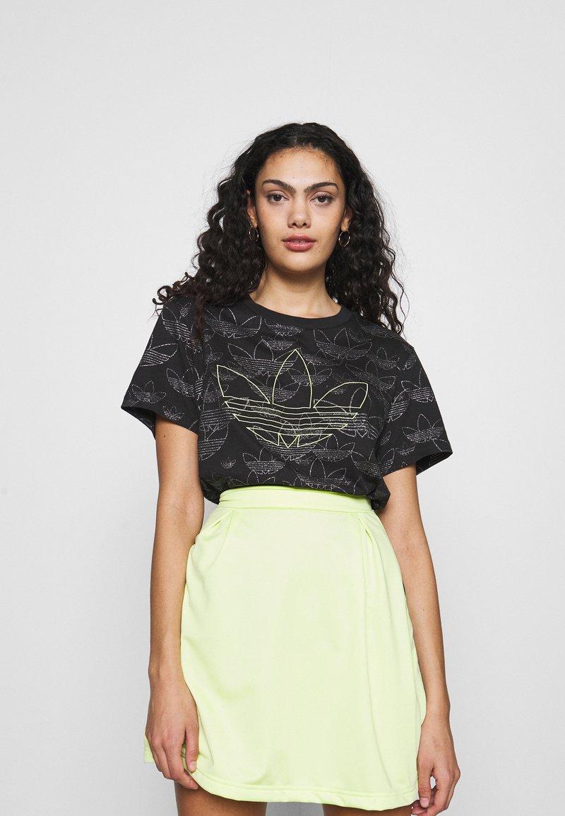adidas Originals - CROPPED - Print T-shirt - black