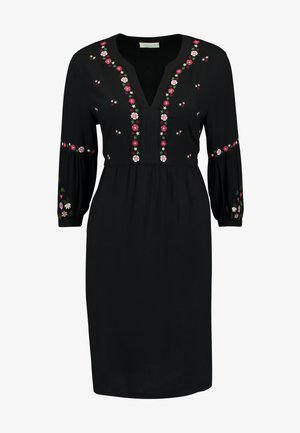 EMBROIDERED DRESS - Day dress - black