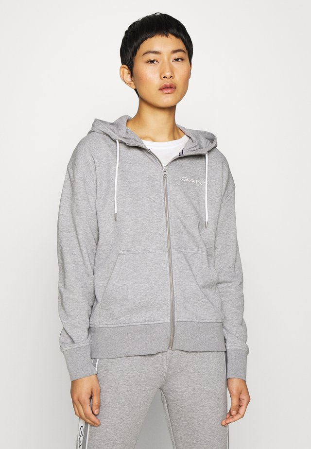 STRIPES FULL ZIP HOODIE - Zip-up hoodie - grey melange