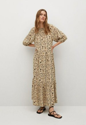 BEDRUCKTES MIT VOLANT - Day dress - beige