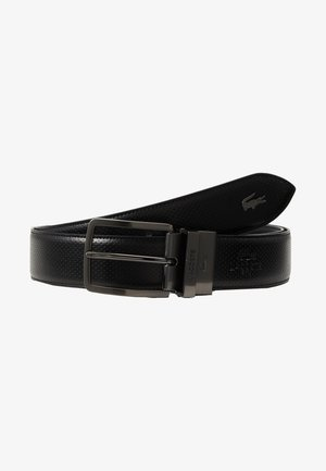 REVERSIBLE CURVED STITCHED EDGES - Belt - black