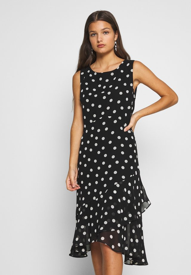 SPOT HANKY HEM DRESS - Day dress - black