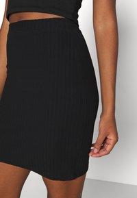 Even&Odd - Basic mini ribbed skirt - Kynähame - black - 5