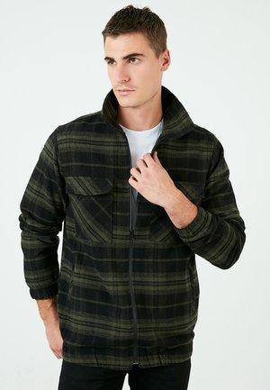 PLAID PATTERNED ZIPER  - Light jacket - khaki