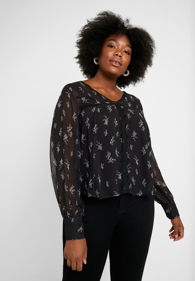 SMOCK TOP IN FLORAL WITH TRIM - Bluser - black