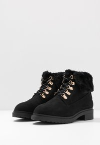 Miss Selfridge Wide Fit - WIDE FIT BOSTON EX HIKER BOOT - Lace-up ankle boots - black - 4