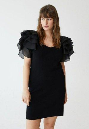MIT VOLANTÄRMELN - Jumper dress - schwarz