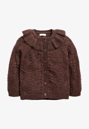 POINTELLE DETAIL COLLAR - Cardigan - dark brown