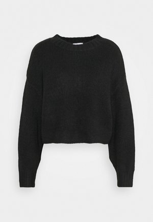 SUPER BRUSHED CROP - Sweter - black