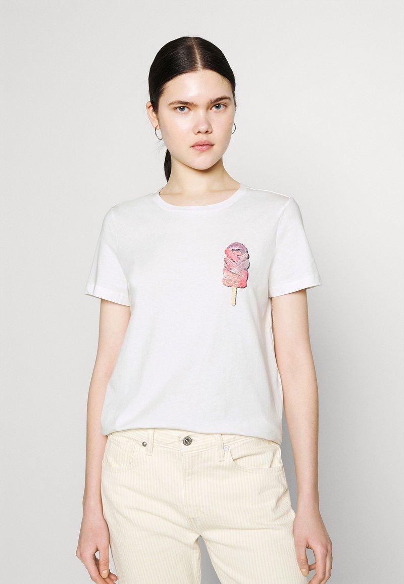 Vero Moda - VMGALAFRANCIS BOX - Print T-shirt - snow white