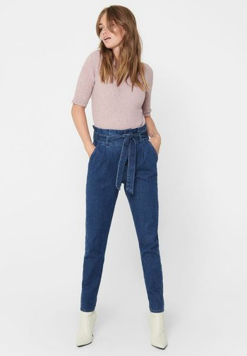 REGULAR FIT ONLPOPTRASH PAPERBAG - Straight leg jeans - dark blue denim