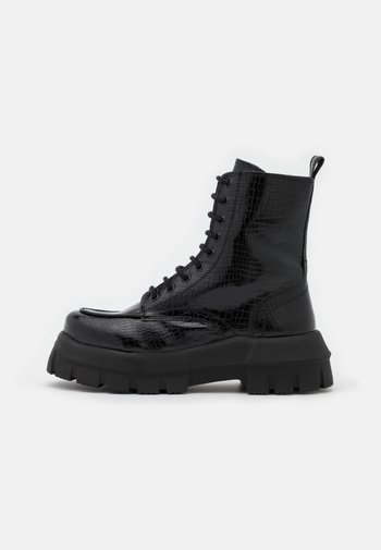 VEGAN VERITY CHUNKY LACE - Lace-up ankle boots - black