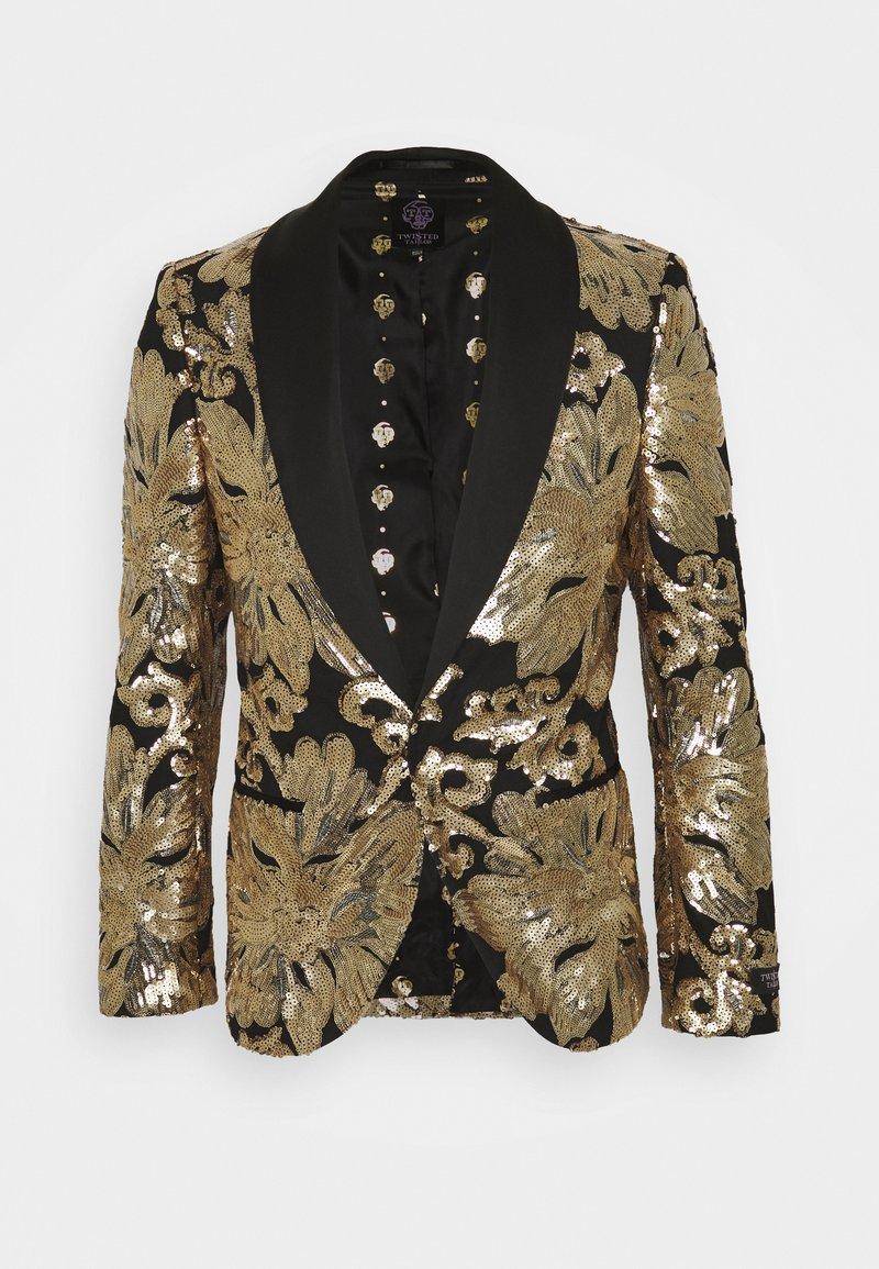 Twisted Tailor - FARBER JACKET - Suit jacket - black/gold