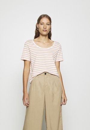 SLFHANNAH STRIPE TEE - T-shirt con stampa - snow white/rose tan