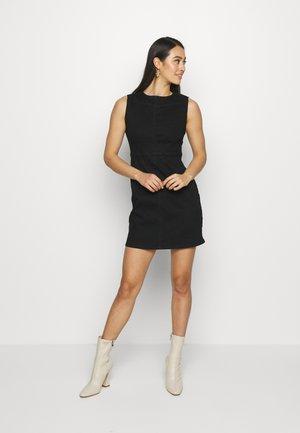 SEAM DETAIL BODYCON MINI DRESS - Denim dress - black
