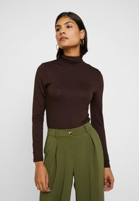 Dorothy Perkins - LONG SLEEVE BUTTON CUFF - Topper langermet - chocolate - 0