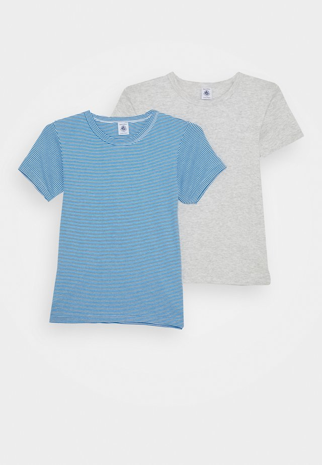 2 PACK - Camiseta estampada - grey/blue/white