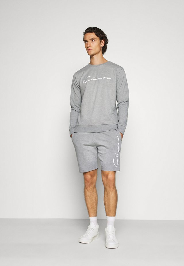 DOUBLE SCRIPT CREWNECK SHORT SET - Sweatshirt - grey