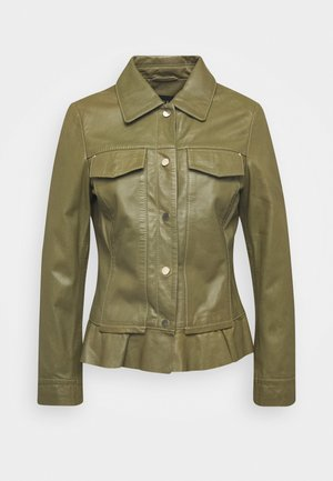 NIGELA - Leather jacket - mossgreen