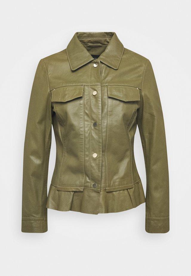 NIGELA - Leather jacket - mossgreen