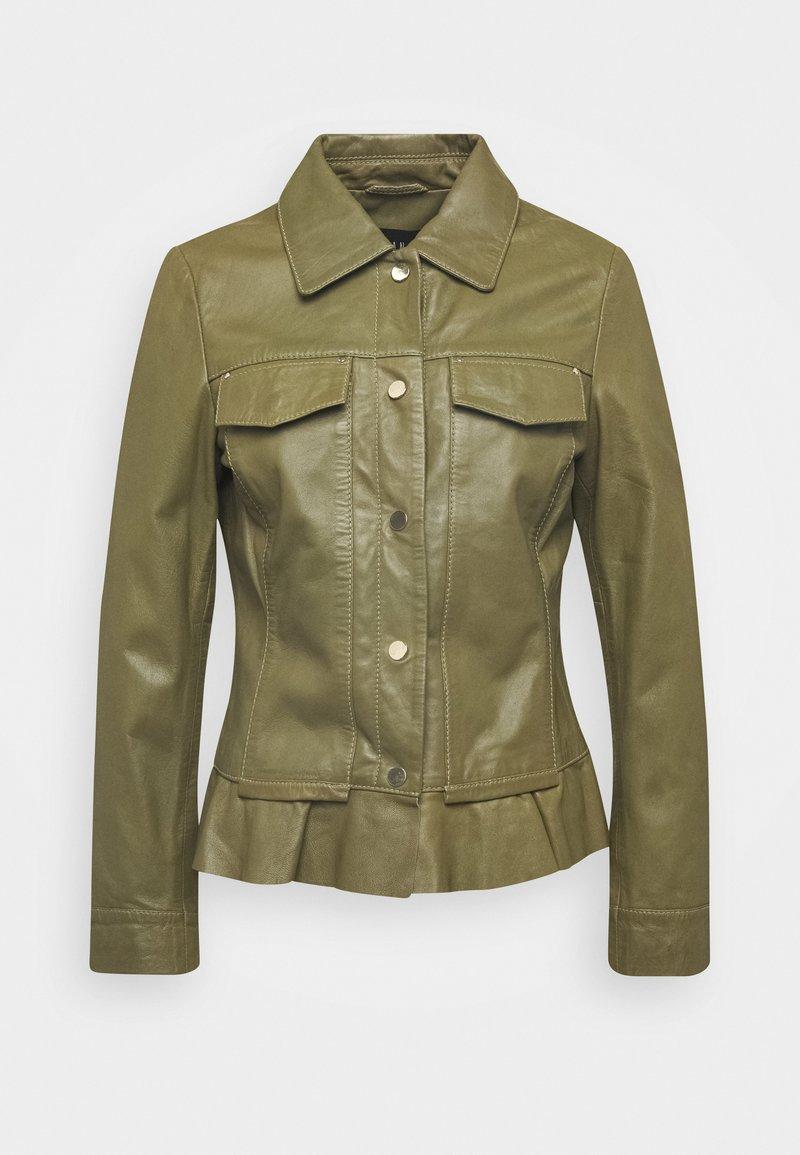 Ibana - NIGELA - Leather jacket - mossgreen