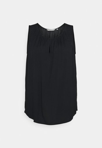 BLOUSE WITH FRONT SLIT - Topper - deep black