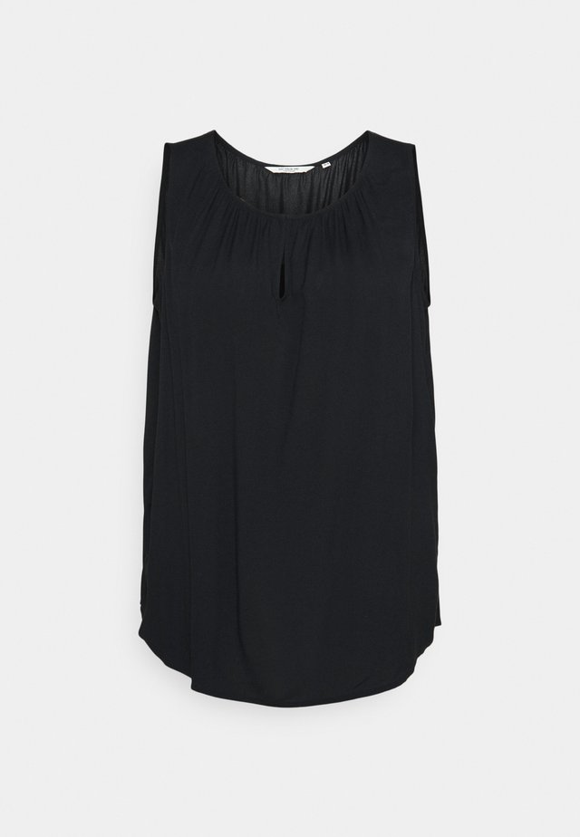 BLOUSE WITH FRONT SLIT - Top - deep black