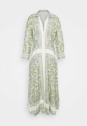 Długa sukienka - ecru/parme