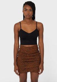Stradivarius - Mini skirt - dark brown - 0