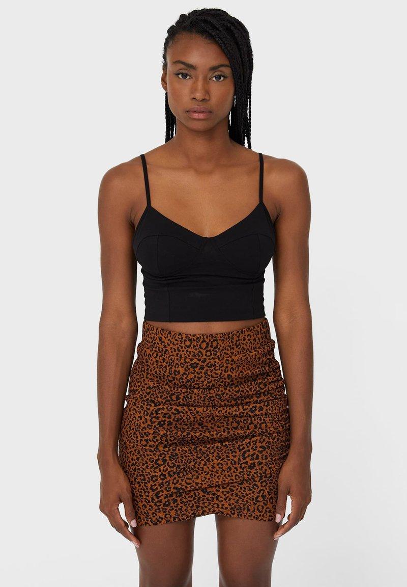 Stradivarius - Mini skirt - dark brown