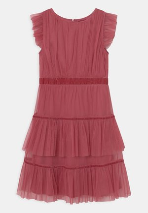 RUFFLE DRESS WITH TRIM DETAIL - Cocktailjurk - cranberry rose