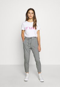 Vero Moda Petite - VMEVA LOOSE STRING PANTS - Bukse - medium grey melange - 1