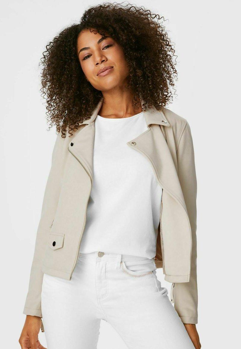 C&A - Faux leather jacket - creme