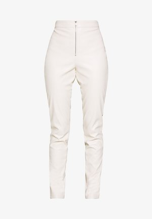 FAUX LEATHER TROUSERS - Leather trousers - off white