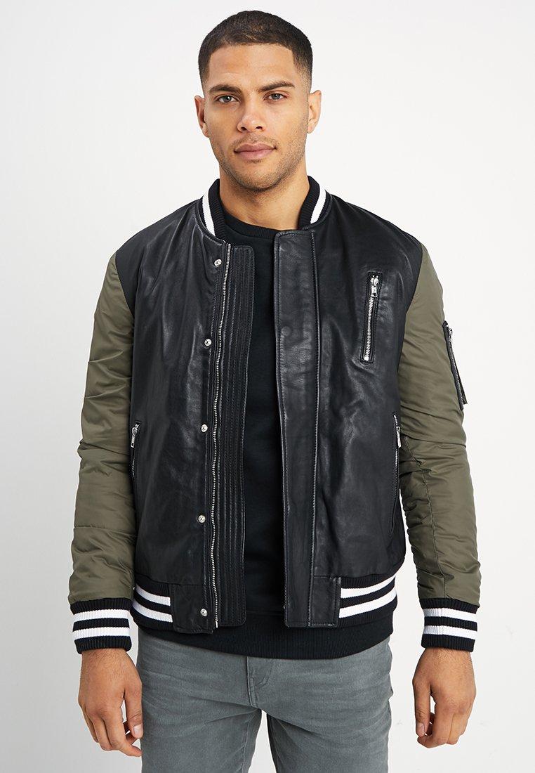 Be Edgy - BESASCHA - Leather jacket - black/oliv