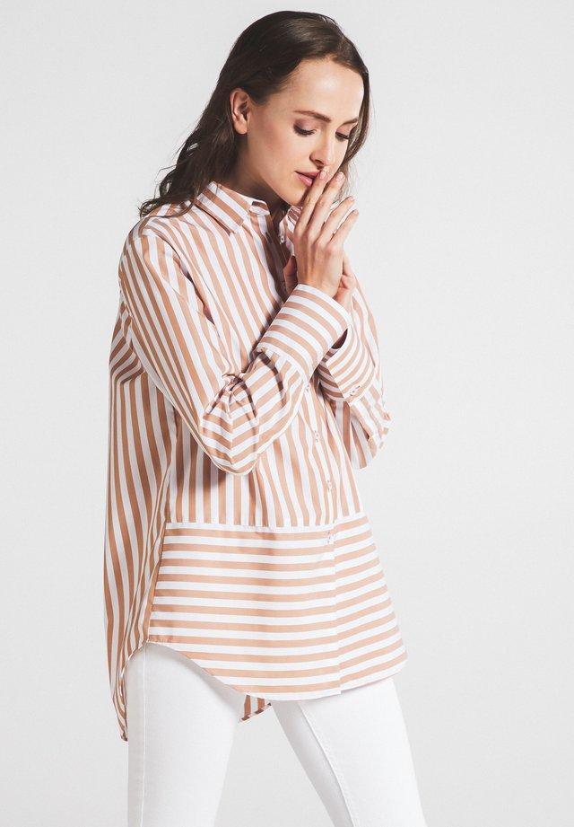 Button-down blouse - beige/weiss