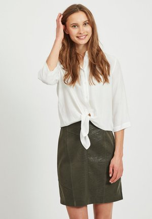 VITHOMA 3/4 TIE - Button-down blouse - snow white