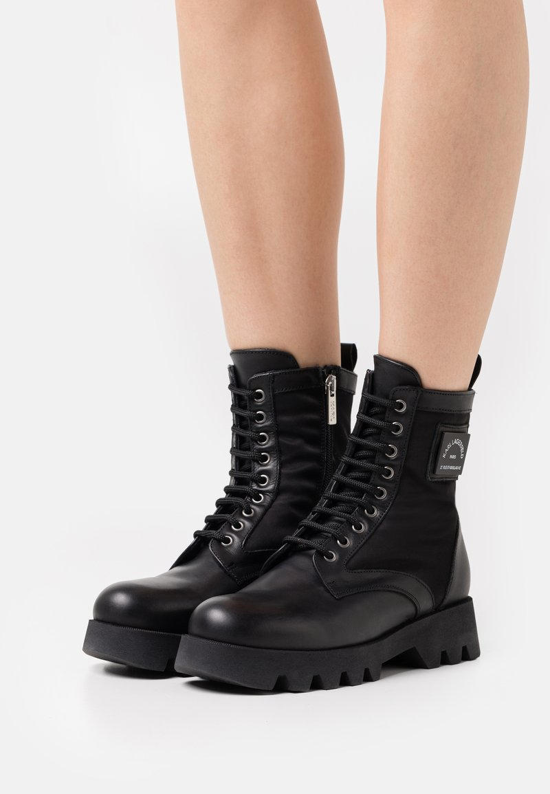 KARL LAGERFELD - TERRA FIRMA HI LACE BOOT - Platform ankle boots - black