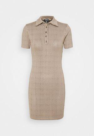 BUTTON PLACKET MINI DRESS - Etuikjole - brown