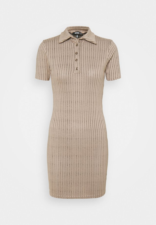 BUTTON PLACKET MINI DRESS - Robe fourreau - brown
