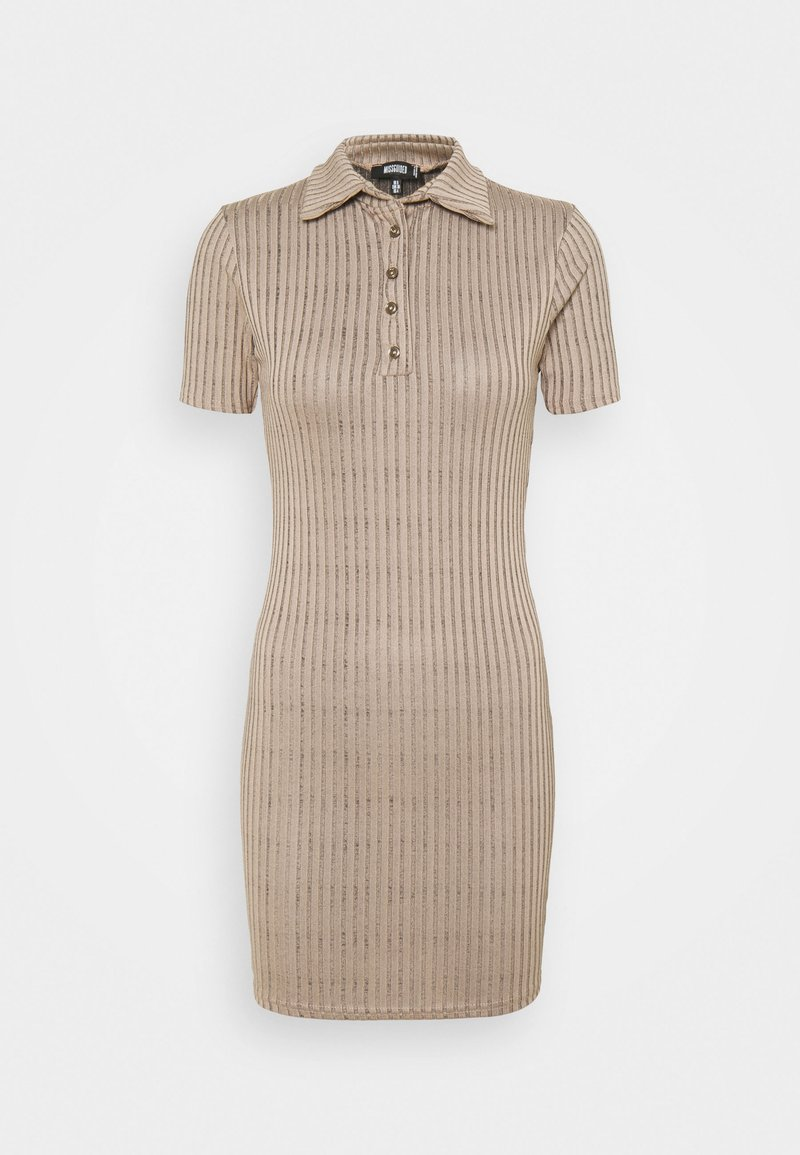 Missguided - BUTTON PLACKET MINI DRESS - Shift dress - brown