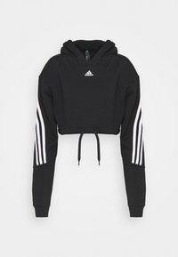 adidas Performance - CROP HOODIE  - Hoodie - black/white - 0